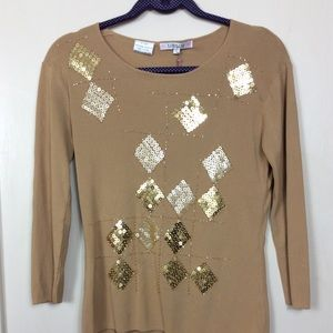 Lou Lou Brand Top With Sequins. Size L NWT